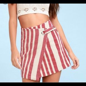 Free people red and white striped skirt